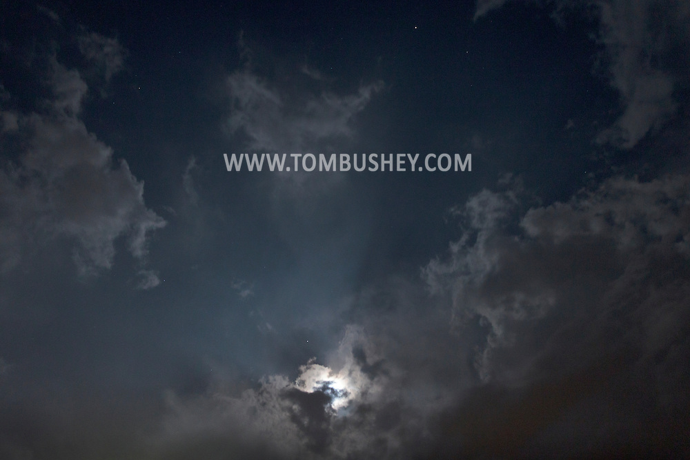 Middletown, New York - The moon and clouds on the night of May 22, 2013.