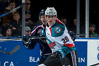 KELOWNA, CANADA - JANUARY 3: Nolan Foote #29 of the Kelowna Rockets looks for the puck after the face off against the Tri-City Americans on January 3, 2017 at Prospera Place in Kelowna, British Columbia, Canada.  (Photo by Marissa Baecker/Shoot the Breeze)  *** Local Caption ***