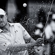 August 22, 2014:  Jordan Spieth (USA) sprays sand as he hits out of a bunker on the 4th hole during the second round of The Barclays Fed Ex  Championship at Ridgewood Country Club in Paramus, NJ. Mandatory Credit:  Kostas Lymperopoulos/csm  (Credit Image: © Kostas Lymperopoulos/Cal Sport Media)