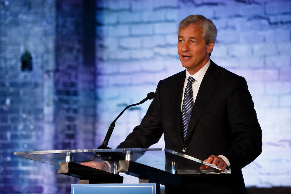 JPMorgan Chase CEO Jamie Dimon visits Detroit on the one year anniversary of the firm's $100 million commitment to the city's revitalization, on Monday, May 18, 2015 in Detroit. (Photo by Rick Osentoski/Invision for JPMorgan Chase Co./AP Images)