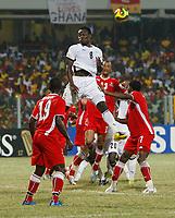 Photo: Steve Bond/Richard Lane Photography.<br />Ghana v Namibia. Africa Cup of Nations. 24/01/2008. Michael Essien rises highest