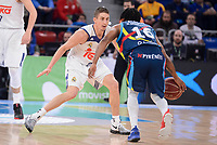 Real Madrid's Jaycee Carroll and Morabanc Andorra's Andrew Albicy during Quarter Finals match of 2017 King's Cup at Fernando Buesa Arena in Vitoria, Spain. February 16, 2017. (ALTERPHOTOS/BorjaB.Hojas)