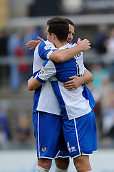 Bristol Rovers' Tom Parkes and Bristol Rovers' Tom Lockyer congratulate each other after their win - Photo mandatory by-line: Dougie Allward/JMP - Mobile: 07966 386802 - 20/09/2014 - SPORT - FOOTBALL - Bristol - SGS Wise Campus - BAWFC v Arsenal Ladies - FA Womens Super League