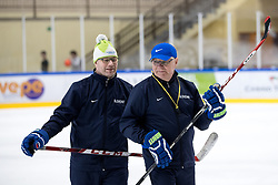 Assitant coach Risto Dufva and head coach Kari Savolainen at first practice of Slovenian National Ice Hockey team before IIHF Ice Hockey World Championship Division I Group A in Budapest, on April 17, 2018 in Ledena dvorana, Bled, Slovenia. Slovenia. Photo by Matic Klansek Velej / Sportida