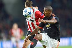15-09-2015 NED: UEFA CL PSV - Manchester United, Eindhoven<br /> PSV kende een droomstart in de Champions League. De Eindhovenaren waren in eigen huis te sterk voor de miljoenenploeg Manchester United: 2-1 / Ashley Young #18