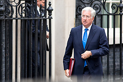 © Licensed to London News Pictures. 21/09/2017. London, UK. Defence Secretary Sir Michael Fallon leaving No 10 Downing Street after attending a Cabinet meeting this morning. Photo credit : Tom Nicholson/LNP