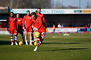 Dannie Bulman of Crawley Town warms up during the EFL Sky Bet League 2 match between Crawley Town and Macclesfield Town at The People's Pension Stadium, Crawley, England on 23 February 2019.