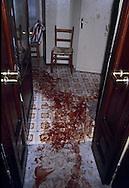 Roma 9 ottobre 1982.Attentato alla Sinagoga di Roma da parte di  un commando palestinese.L'attentato avvenne di sabato mattina, alla fine dello Shemin&igrave; Atzeret che chiude la festa di Sukkot.L'attentato caus&ograve; la morte di Stefano Gay Tach&egrave; di soli due anni ed il ferimento di 37 persone. La scia  di sangue di un ferito nell'attentato.<br /> Rome October 9, 1982.<br />  Attack on the synagogue in Rome by a commando palestinian. Attack was on a Saturday morning, at the end of Shemini Atzeret, which closes the holiday Sukkot.  Attack caused the death of Stefano Gay Tache of  only two years and the wounding of 37 people. The trail of blood of a wounded, in an apartment, escaped  the attack of  commando palestinian in the Synagogue of Rome