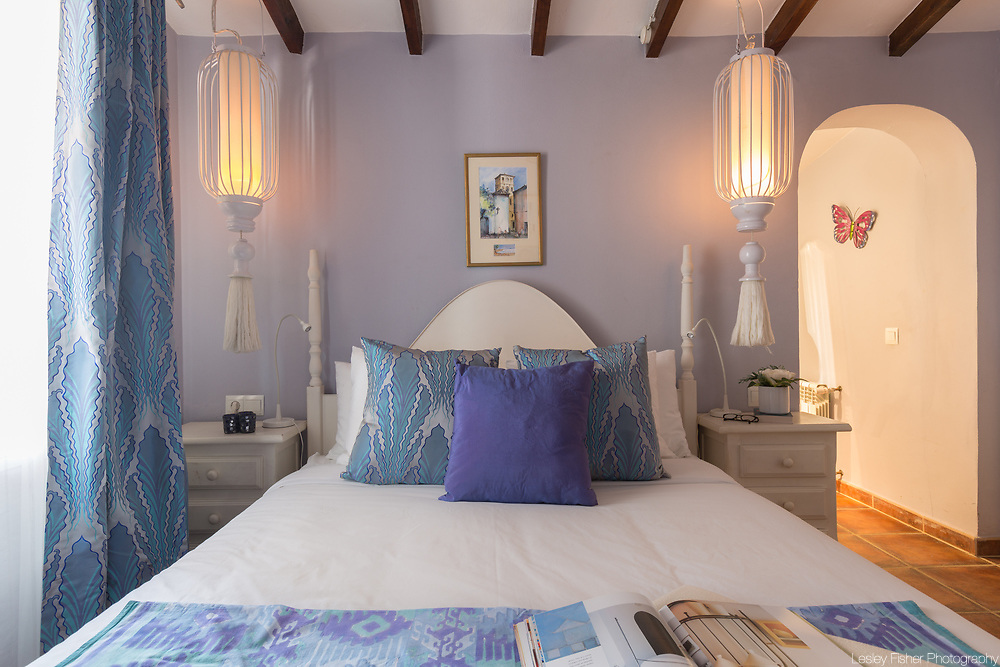 Bedroom at Casa Torre, a 3 bedroom luxury villa with ocean view located near the small village of Canillas de Albaida in the hills of Andalucia region in Spain