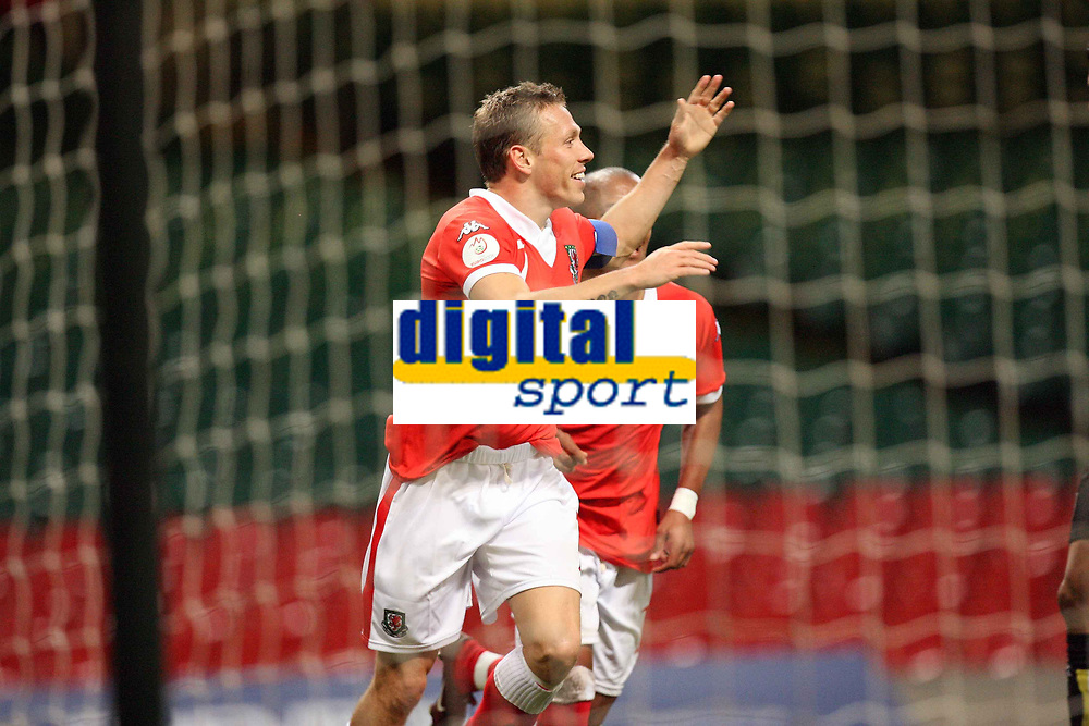 Photo: Rich Eaton.<br /> <br /> Wales v Cyprus. UEFA European Championships 2008 Qualifying. 11/10/2006. Craig Bellamy celebrates scoring his second half goal for Wales