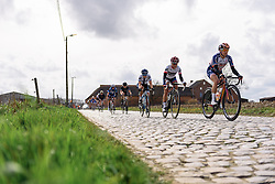 Megan Guarnier, Ashleigh Moolman Pasio and Lotta Lepistö well positioned across the penultimate set of of cobbles - Pajot Hills Classic 2016, a 122km road race starting and finishing in Gooik, on March 30th, 2016 in Vlaams Brabant, Belgium.
