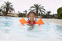 Girl (5-6 years) in swimming pool portrait