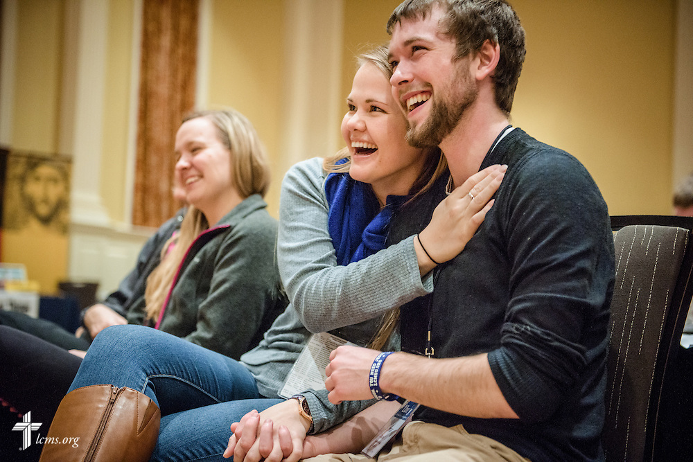 Bethany Glock and Gunner Campbell share a laugh during a banquet speech given by the Rev. Hans Fiene, pastor of River of Life Lutheran Church in Channahon, Ill., during the Liberty National LCMS Campus Ministry Conference on Wednesday, Jan. 4, 2017, at the University of Maryland in College Park, Md. LCMS Communications/Erik M. Lunsford