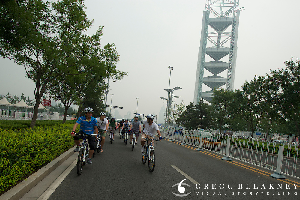 Time Trail Course, Olympic Park KM 2-5, urban roads leaving Olympic Park - Journalists and delegates pre-ride the 2011 Tour of Beijing Scouting Photos