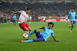 Salzburg's Hee-Chan Hwang & Marseille's Luiz Gustavo during the second leg of UEFA Europa League Semi Final soccer match : FC Salzburg Vs Olympique de Marseille at EM-Stadion in Salzburg, Austria on May 3rd, 2018. Photo by Guillaume Chagnard/ABACAPRESS.COM