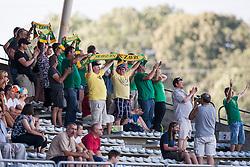 Fans of team Zavrc during football match between NK Triglav Kranj and Zavrc 3rd Round of Prva Liga, on 28 July, 2013, in Sportni center Kranj, Slovenia. (Photo by Grega Valancic / Sportida)