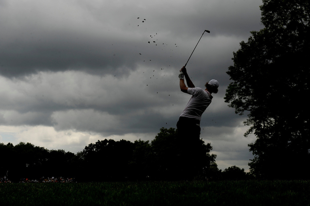 FARMINGDALE, NY - JUNE 21: Adam Scott of Australia hits his tee shot on the 14th hole during the continuation of the third round of the 109th U.S. Open on the Black Course at Bethpage State Park on June 21, 2009 in Farmingdale, New York.(Photo by Rob Tringali) *** Local Caption *** Adam Scott
