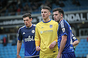 Tom Craddock (Guiseley) waits for the corner to come in during the Conference Premier League match between FC Halifax Town and Guiseley at the Shay, Halifax, United Kingdom on 5 December 2015. Photo by Mark P Doherty.