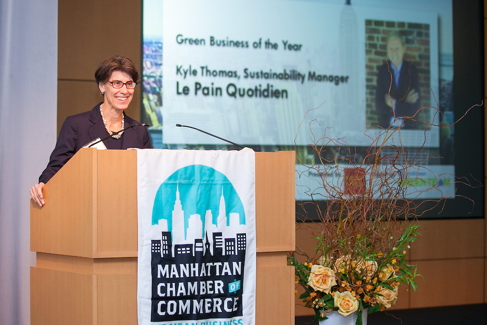 Rebecca Craft of Con Edison introduced the 2014 Green Business of the Year. Celebrating the business leaders in New York City, who have built outstanding businesses - contributing to the economy and community as well. The MCC Business Awards Breakfast is the Manhattan Chamber's premiere event adn was attended by over 250 entrepreneurs, business owners, executives and legislative leaders in New York City. (Photo: www.JeffreyHolmes.com)