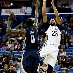 Dec 5, 2016; New Orleans, LA, USA; New Orleans Pelicans forward Anthony Davis (23) shoots over Memphis Grizzlies forward JaMychal Green (0) during the second half of a game at the Smoothie King Center. The Grizzlies defeated the Pelicans 110-108 in double overtime.  Mandatory Credit: Derick E. Hingle-USA TODAY Sports