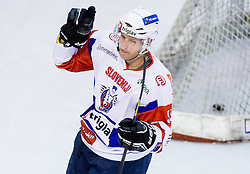 ROBERT SABOLIC of Slovenia celebrates during Friendly Ice-hockey match between National teams of Slovenia and Austria on April 19, 2013 in Ice Arena Tabor, Maribor, Slovenia. (Photo By Vid Ponikvar / Sportida)
