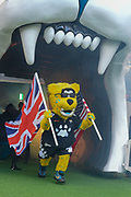 Jacksonville Jaguars mascot with flags enters the stadium during the International Series match between Jacksonville Jaguars and Philadelphia Eagles at Wembley Stadium, London, England on 28 October 2018.