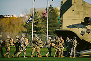 A chinook helicopter lands on Luger Field on Friday, April 20th, 2018 to pick up the ROTC students.