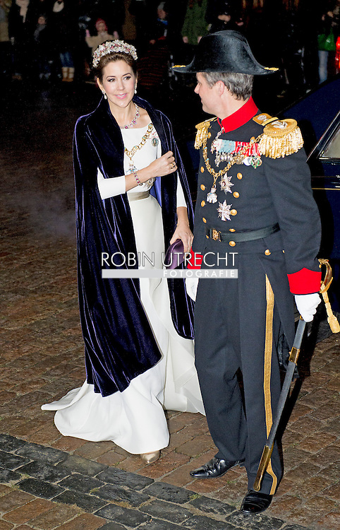 COPENHAGEN -  Crownprince Frederik and Crownprincess Mary of Denmark arrive at the annual New Years reception in Amalienborg Palace in Copenhagen, Denmark, 1 January 2015 COPYRIGHT ROBIN UTRECHT