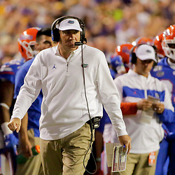 Oct 12, 2019; Baton Rouge, LA, USA; Florida Gators head coach Dan Mullen during the first half against the LSU Tigers at Tiger Stadium. Mandatory Credit: Derick E. Hingle-USA TODAY Sports