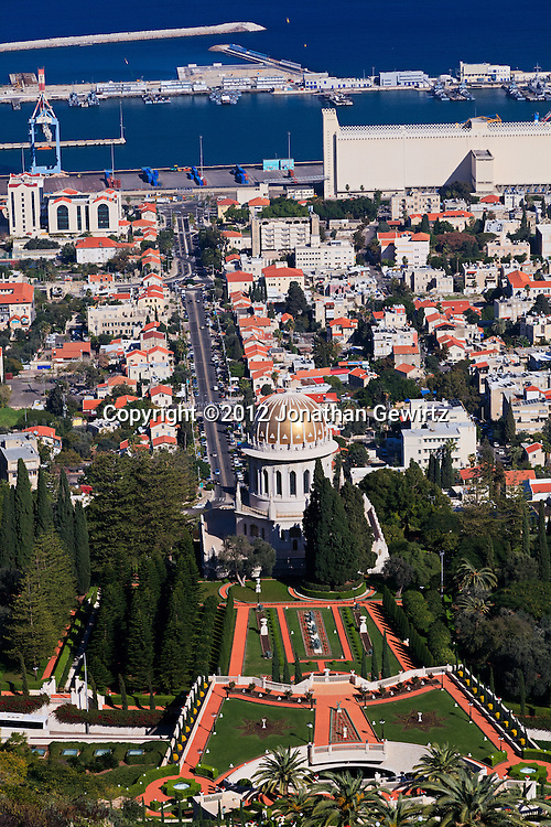 Haifa's German Colony, Bahai temple and gardens, Sderot Ben Gurion (street) and port are visible in this view from the slopes of Mount Carmel. WATERMARKS WILL NOT APPEAR ON PRINTS OR LICENSED IMAGES.