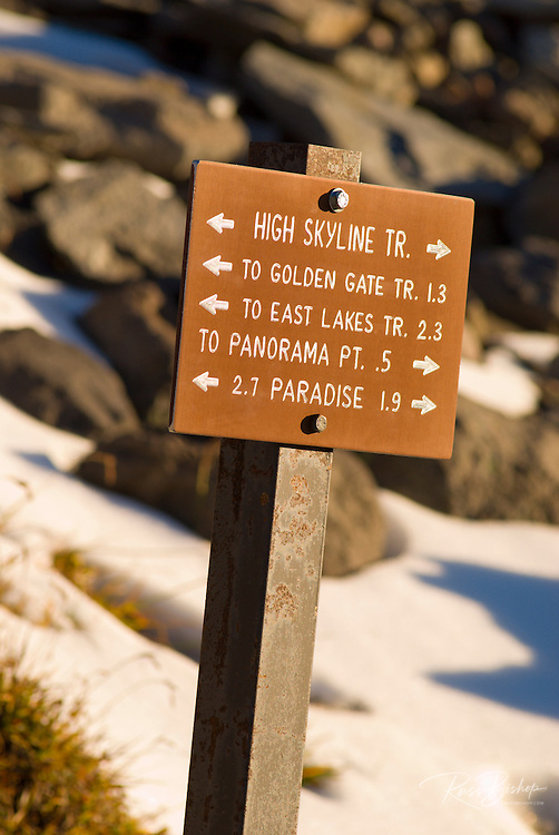 Trail sign on the Skyline Trial above Paradise, Mount Rainier National Park, Washington