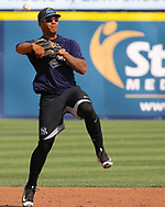May 19, 2017 - Trenton, New Jersey, U.S - GLEYBER TORRES, an infielder for the Trenton Thunder, practices at shortstop before the game today versus the Portland Sea Dogs at ARM & HAMMER Park. (Credit Image: © Staton Rabin via ZUMA Wire)