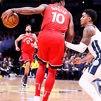 01 November 2017: Toronto Raptors guard DeMar DeRozan (10) posts up Denver Nuggets guard Gary Harris (14) during the Denver Nuggets 129-111 victory over the Toronto Raptors, at the Pepsi Center, Denver, Colorado, USA.