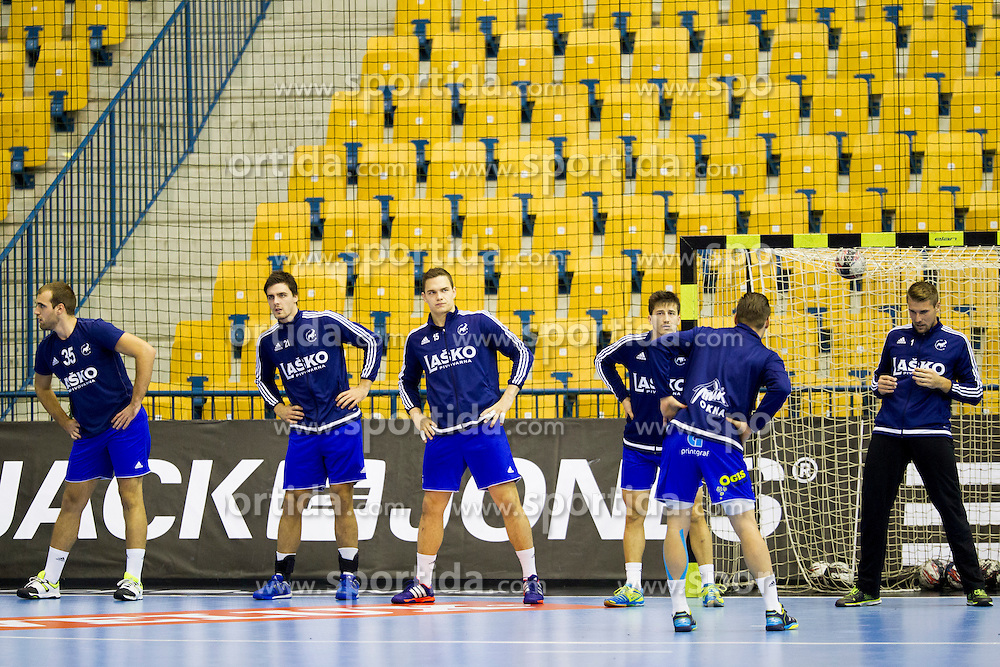 Players of RK Celje Pivovarna Lasko before handball match between RK Celje Pivovarna Lasko (SLO) and Paris Saint-Germain (FRA) in Round #5 of Group Phase of EHF Champions League 2015/16, on October 18, 2015 in Arena Zlatorog, Celje, Slovenia. Photo by Urban Urbanc / Sportida