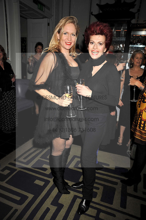 Left to right, IMOGEN EDWARDS-JONES and CLEO ROCCOS at a party to celebrate the publication of 'In Bed With' held at the Artesian Bar,The Langham Hotel, 1c Portland Placeon 11th February 2009.