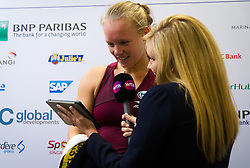 October 23, 2018 - Kallang, SINGAPORE - Kiki Bertens of the Netherlands backstage after winning her first match at the 2018 WTA Finals tennis tournament (Credit Image: © AFP7 via ZUMA Wire)
