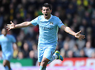 Picture by Andrew Timms/Focus Images Ltd. 07917 236526.14/04/12.Sergio Aguero of Manchester City celebrates scoring his second and Manchester City's fourth goal during the Barclays Premier League match against Norwich City at Carrow Road stadium, Norwich.