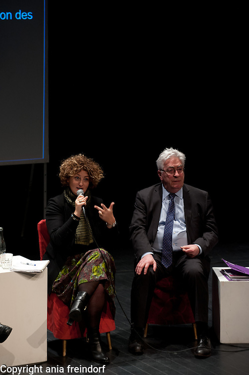 """Conference """"Fukushima, nuclear accident - four years later"""", Green Cross Paris, France, (right) Christian Bataille, Member of French Parlament, Sandrine Belier, former Member of European Parlament,"""
