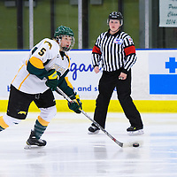 2nd year forward Jaycee Magwood (5) of the Regina Cougars of the Regina Cougars in action during the Women's Hockey Home Game on November 25 at Co-operators arena. Credit: Arthur Ward/Arthur Images