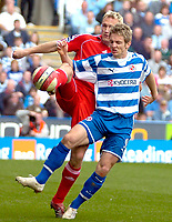 Photo: Ed Godden/Sportsbeat Images.<br />Reading v Liverpool. The Barclays Premiership. 07/04/2007. Reading's Kevin Doyle (R), is tackled from behind by Sami Hypia.
