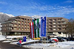 19.01.2013, Schladming, AUT, FIS Weltmeisterschaften Ski Alpin, Schladming 2013, Vorberichte, im Bild das 2012 erbaute Falkensteiner Hotel Schladming am 19.01.2013 // the Falkensteiner Hotel Schladming (built 2012) on 2013/01/19, preview to the FIS Alpine World Ski Championships 2013 at Schladming, Austria on 2013/01/19. EXPA Pictures © 2013, PhotoCredit: EXPA/ Martin Huber