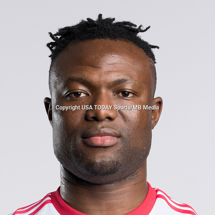 Feb 25, 2017; USA; New York Red Bulls player Gideon Baah poses for a photo. Mandatory Credit: USA TODAY Sports