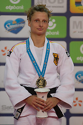 Gold medalist Mareen Kraeh of Germany attends the award ceremony for women's -52 kg category at Grand Prix Budapest 2015 in Budapest, Hungary on June 13, 2015. EXPA Pictures &copy; 2015, PhotoCredit: EXPA/ Photoshot/ Attila Volgyi<br /> <br /> *****ATTENTION - for AUT, SLO, CRO, SRB, BIH, MAZ only*****
