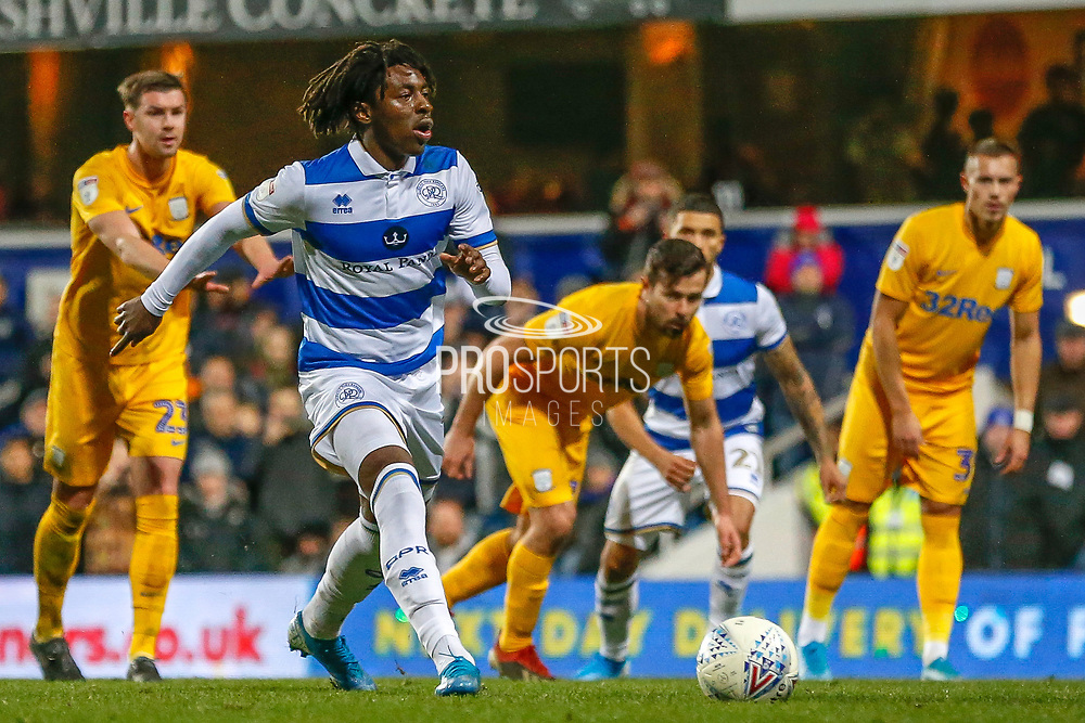 GOAL PENALTY 2-0 Queens Park Rangers midfielder Eberechi Eze (10) scores from the penalty spot during the EFL Sky Bet Championship match between Queens Park Rangers and Preston North End at the Kiyan Prince Foundation Stadium, London, England on 7 December 2019.
