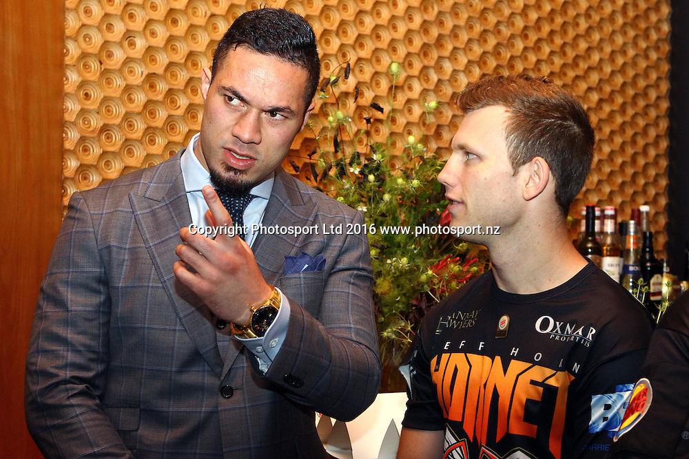 Joseph Parker (L) and Jeff Horn, Final press conference before the December 10, Parker v Ruiz, WBO world boxing heavyweight title fight. Rec Bar, Auckland. 8 December 2016 / www.photosport.nz