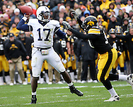 08 NOVEMBER 2008: Penn State quarterback Daryll Clark (17) throws a pass over an Iowa defender in the first half of an NCAA college football game against Penn State, at Kinnick Stadium in Iowa City, Iowa on Saturday Nov. 8, 2008. Iowa beat Penn State 24-23.