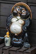 "Honored in a stylized statue, this tanuki, or Japanese raccoon dog (Nyctereutes procyonoides viverrinus) is a subspecies of Asian raccoon dog, in the canid family. In Japanese folklore, the legendary tanuki is reputed to be mischievous and jolly, a master of disguise and shapeshifting, but somewhat gullible and absentminded. The tanuki is a common theme in Japanese art and statuary. ""Tanuki"" is often mistakenly translated into English as ""badger"" or ""raccoon"" (as used in the US version of the movie Pom Poko and outlined in Tom Robbins' book Villa Incognito), two unrelated types of animals with superficially similar appearances.  The city of Takayama (""tall mountain"") lies in the heart of the Japan Alps, in the Hida region of Gifu Prefecture. Commonly differentiated as Hida-Takayama, city has the largest geographic area of any municipality in Japan."