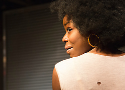 "© Licensed to London News Pictures. 01/11/2012. London, England. Pictured: Emmanuella Cole. World Premiere of ""but i cd only whisper"", a play by Kristina Colón, directed by Nadia Latif, running at the Arcola Studio 2 from 31 October to 1 December 2012. Photo credit: Bettina Strenske/LNP"