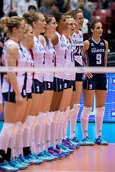 17-05-2016 JAP: OKT Thailand - Nederland, Tokio<br /> Nederland verslaat Thailand met klinkende cijfers 3-0 en is weer op koers voor Rio / Line up met Nicole Koolhaas #22, Myrthe Schoot #9
