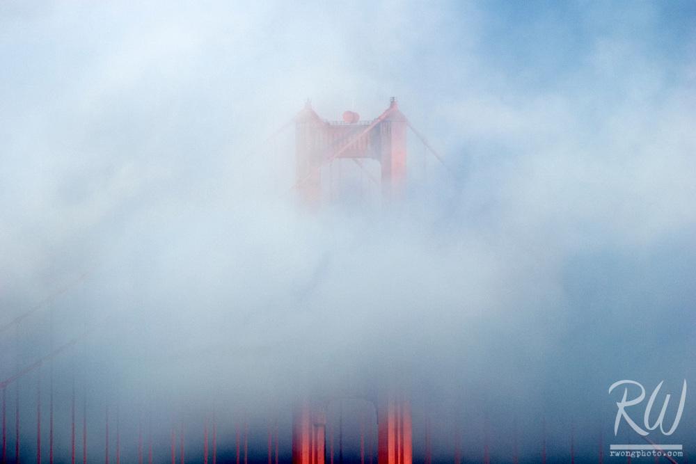 Golden Gate Bridge in Fog, Marin Headlands, California